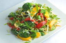 asian greens with bean sprouts, red pepper and mango